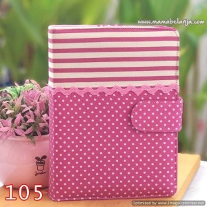 CVR1-105 Cover / Sampul AlQuran Model Agenda Motif Garis & Polkadot Purple