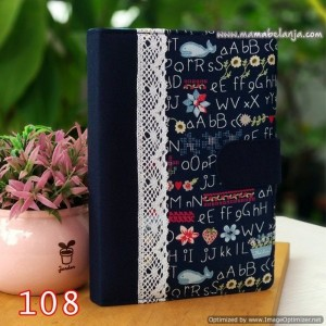 CVR1-108 Cover / Sampul AlQuran Model Agenda Motif Alphabet Navy
