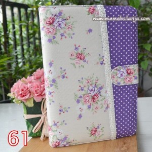 CVR1-061 Cover / Sampul AlQuran Model Agenda Motif Mawar Kecil Cream Dot Violet