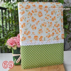 CVR1-069 Cover / Sampul AlQuran Model Agenda Motif  Bunga Sunkist Dot Lime