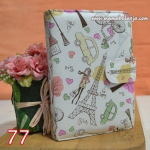 CVR1-077 Cover / Sampul AlQuran Model Agenda Motif Paris Putih