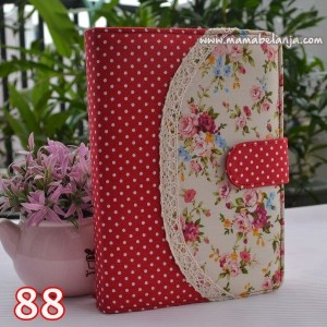 CVR1-088 Cover / Sampul AlQuran Model Agenda Motif Mawar Merah Cream