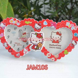 JAM106	Alarm Clock / Jam Weker / Waker / Meja - Love Hello Kitty Merah