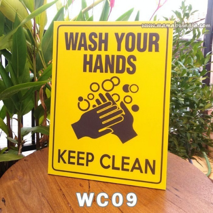 WC09 Poster Dekorasi Rumah / Hiasan Dinding – Wash Your Hand Keep Clean