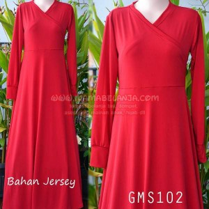 GMS102	Gamis Polos Merah Cabe Bahan Jersey